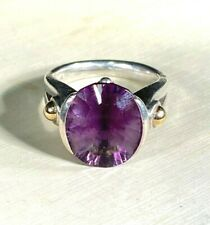 18k Gold & 970 Silver Amethyst Ring By Lorenzo, Size 7. 8.8 grams