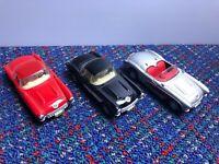 3 Maisto Model Car 1:39 Scale Diecast 57 Corvette Chevrolet Red Black Silver