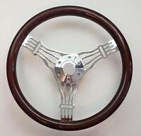 """15"""" BANJO DARK MAHOGANY WOOD STEERING WHEEL + Adaptor + Horn Button"""