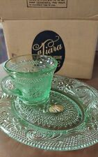 4 Piece Tiara Exclusive Glassware Spruce Clear Green Snack Set [2]