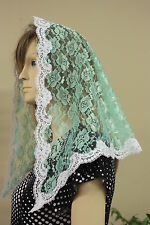 Light Green veils and mantilla Catholic church chapel scarf lace head covering M