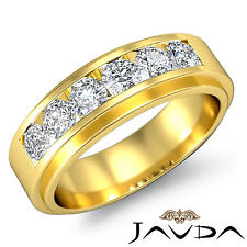 Channel Sets Lustful Diamond Mens Wedding Band 8.5mm Ring 14k Yellow Gold 0.90Ct