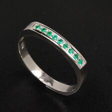 Natural EMERALDS Engagement Wedding Eternity 14K White Gold Band Ring WE-42