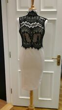 Midi nude colour dress with black lace overlay size 12