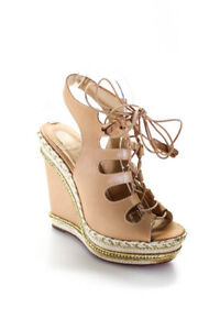 Christian Louboutin Womens Leather Lace Up Wedges Beige Size 39