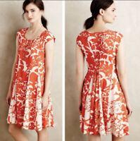 Anthropologie Maeve Size M Bird Print Indiga Swing Dress With Back Tassels