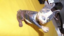 Antique Hubley Usa Boston Terrier Cast Iron Dog W/ Paw Up Art Statue Doorstop Us