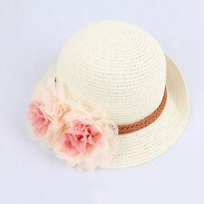 Toddlers Infants Baby Girls Flower Summer Straw Sun Beach Hat Cap 2-7Year CaEV