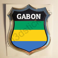 Pegatina Gabon 3D Escudo Emblema Vinilo Adhesivo Resina Relieve Coche Moto