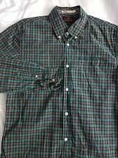 Men's Scotch & Soda Long Sleeve Plaid Button Shirt Green/Blue/Orange Medium