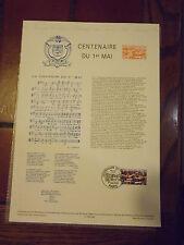 Collection Historique Timbre Poste 1er Jour : 01/05/90 -centenaire du 1 er mai