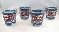 4 RARE Vintage PEPSI COLA Stained Glass Tiffany Style BLUE DIAMOND Flair Glasses
