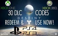 Destiny 30 Different DLC codes PS3 PS4 Xbox One Xbox 360 Bungie
