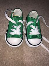Baby Converse Size 2 Green Worn Once In Pram
