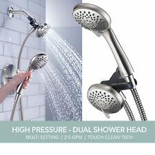 Delta Peerless Faucet 3-Spray Dual Shower Head Handheld Combo in Nickel