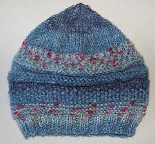 Hand knitted Baby Hat  Denim  Blue Multicolour  Newborn