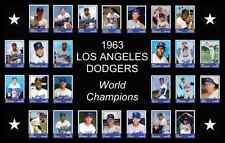 1963 LOS ANGELES DODGERS World Series Vintage Baseball Card Custom Poster Decor