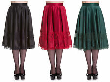 Hell Bunny Diana Satin Party Skirt Rockabilly 50s Lace Trim Vintage Retro Style