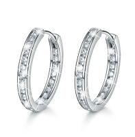 18k white gold gp hoop stud earrings made with SWAROVSKI crystal huggies hoops