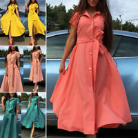 Women Summer VNeck Short Sleeve Long Dress Single-breasted Beach Split Sundress