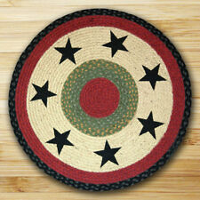 BRAIDED ROUND HAND STENCILED AREA RUG By EARTH RUGS--BLACK STARS