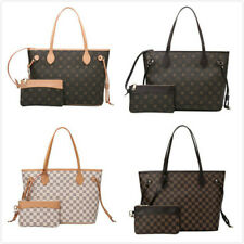 NEW Women Ladies Checkered Tote Bag Leather Style Quality Shoulder Handbag