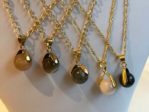 Semi Precious Stone 12mm or 14mm Bead Pendant Necklaces on Gold Plated Chains