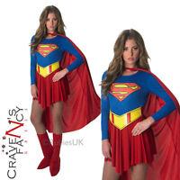 Classic Supergirl Ladies Fancy Dress Superhero Costume Adult Outfit UK 8-16 New