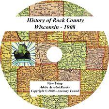 1908 History & Genealogy of ROCK County Wisconsin WI