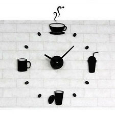 3D Acrylic Mirror Coffee Wall Clocks Decal Fashion DIY Modern Design