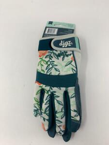 Digz Women's Large Fabric Gardener Touchscreen Gloves, Blues/ Greens/ Corals