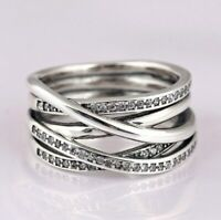 Sterling Silver Ring Openwork Eternity Entwined Crystal Rings For Women