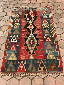 Vintage Multicolor Handmade Kilim