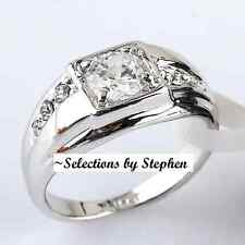 MEN+WOMENS 18K WHITE GOLD ON SILVER FIERY SIMULATED MOISSANITE RING_SIZE 9+1/4