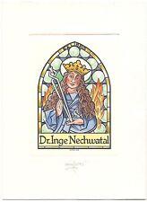 WERNER PFEILER: Exlibris für Dr. Inge Nechwatal, Hl. Apollonia