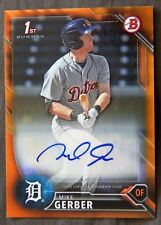 Detroit Tigers Mike Gerber 2016 Bowman Orange Auto 1st Card #18/25