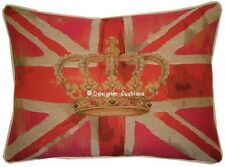 Union Jack Pink Flag Design #1 Oblong Woven Tapestry Cushion Cover