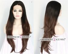 Ombre Chestnut Brown Synthetic Lace Front Wigs Dark Brown Long Straight Lace Wig