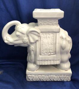 Vintage Porcelain Elephant Plant Stand White Glaze Trunk Up Good Luck Feng Shui