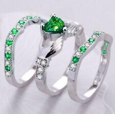 Fashion 925 Silver Irish Claddagh Celtic Heart Emerald Wedding 3Pcs Ring Set Sz9