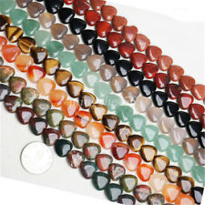 1Strand 40Ps Agate Crystal Turquoise Heart Shape Gemstone Loose Bead DIY 10x10mm