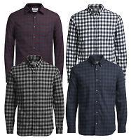 JACK & JONES William Long Sleeve Shirt New Mens Regular Fit Check Smart Shirts