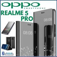 COVER FLIP PER OPPO REALME 5 PRO CUSTODIA LIBRO NERA A SPECCHIO CLEAR VIEW 360°