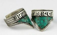 2pcs Adjustable Tibetan Turquoise Inlay Carved Mantra OM Mani Amulet Ring