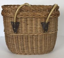Large Woven Wicker Gathering Boho Basket With Handles Leather Accent