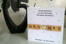 """Mrs and Mrs Scrabble Gay Same Sex Engagement 6"""" Wedding Card Personalised Women"""