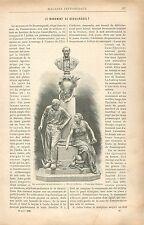 Monument à Boussingault de Jules Dalou aux Arts et Métiers GRAVURE PRINT 1895