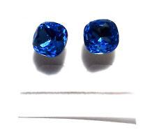 Swarovski Elements - 12 mm (7cts) Sapphire - Earrings - Studs