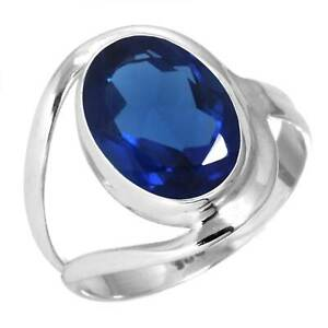 Blue Sapphire Simulated Ring 925 Sterling Silver Handmade Jewelry Size 8 JR74493