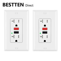 2 Pack BESTTEN 20AMP GFCI GFI Receptacle Outlet - Tamper Resistant with Led, ETL